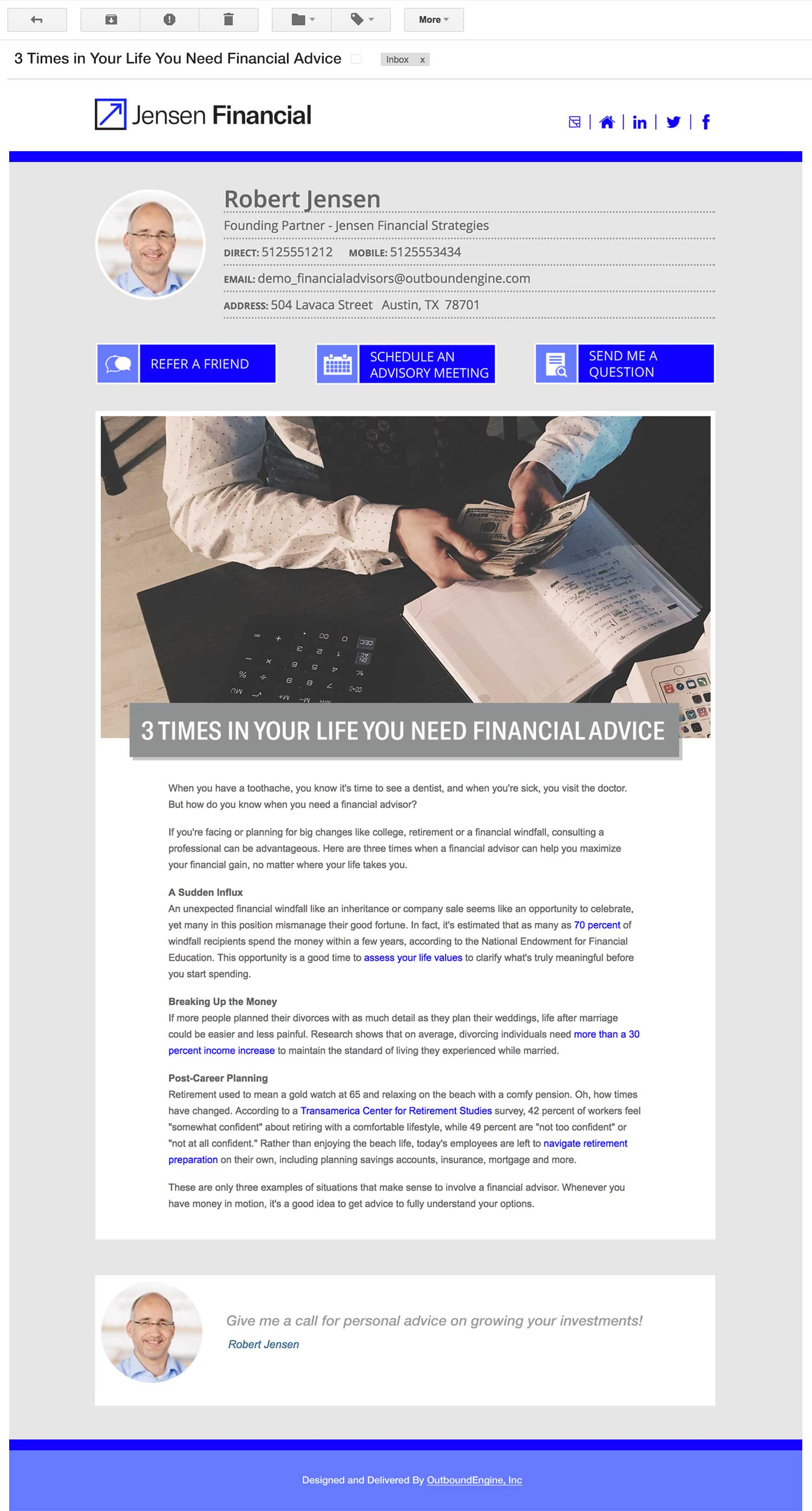 Financial Advisor Email Newsletter