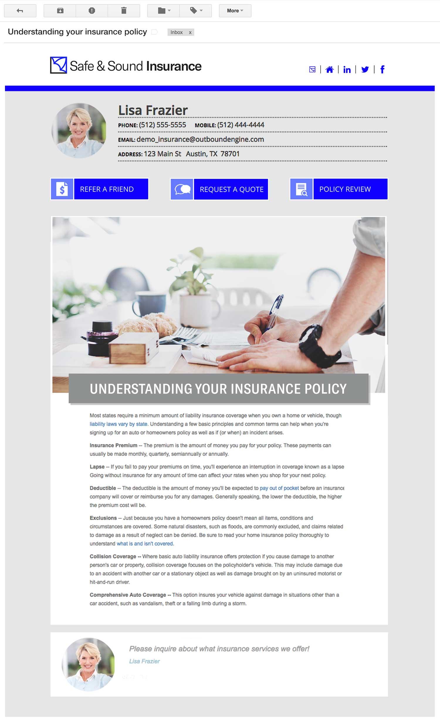 Insurance Agent Email Newsletter